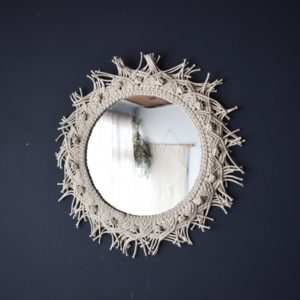Espejos decorativos o Espejos para baños redondo macramé Ebani