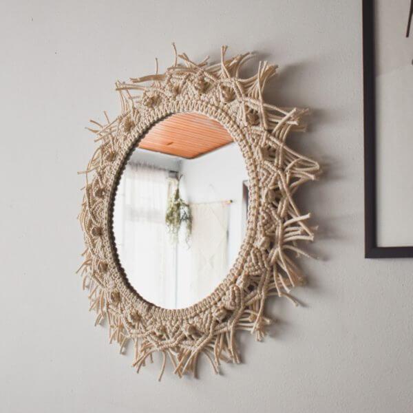 Espejos decorativos o Espejos para baños redondo macramé 1 Ebani