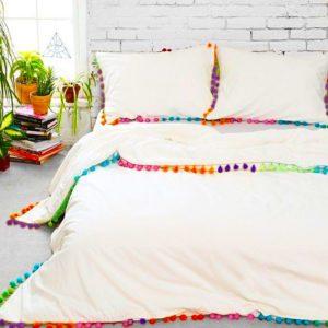 Edredon o Duvet blanco borlas multicolor Ebani