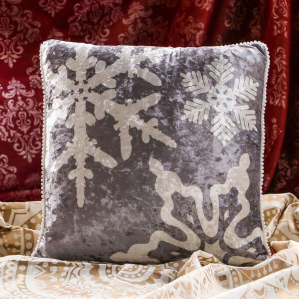 Cojin Snowflakes Gray Velvet