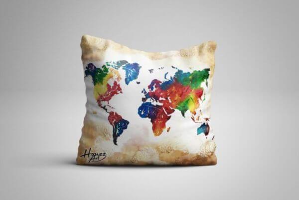 Cojin Mapa Mundi color