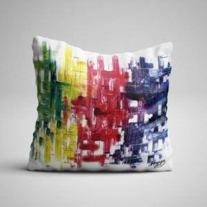 Cojín abstracto malla colores
