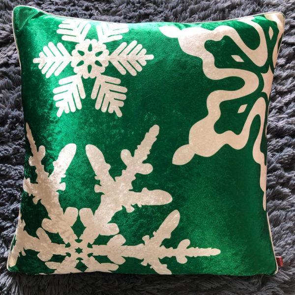 Cojin Snowflakes Green Velvet