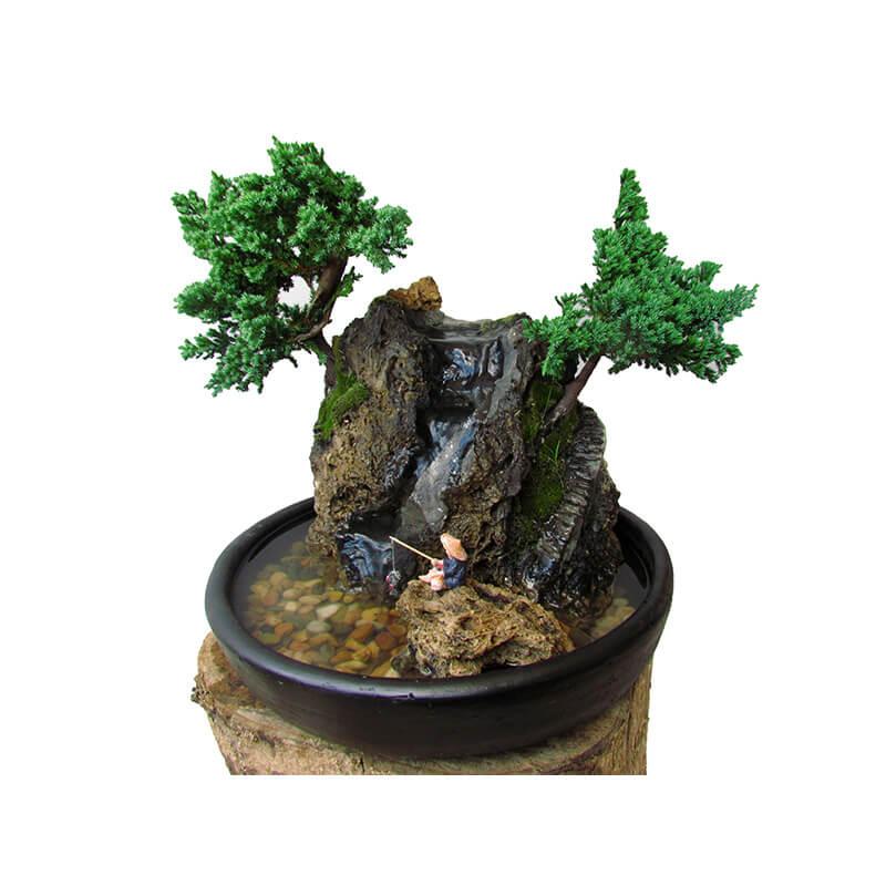 Exclusiva fuente Natural con dos bonsais Nanas