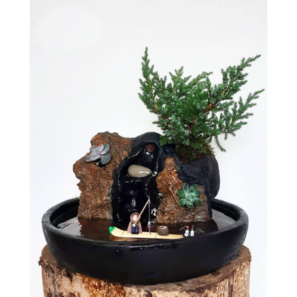 Fuente Natural Zen Con Bonsai Adulto