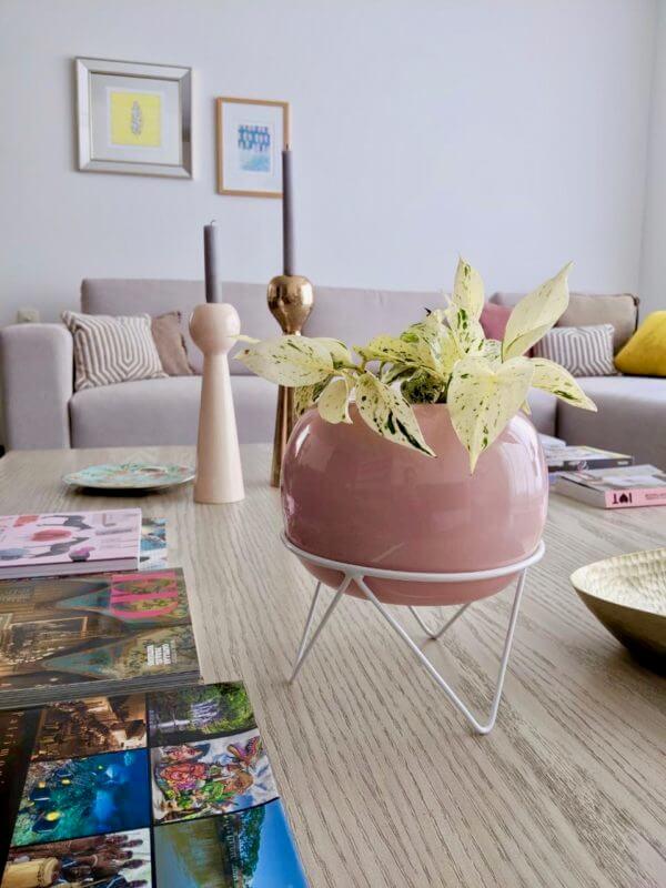 Matera Tripod blanca y matero color rosa
