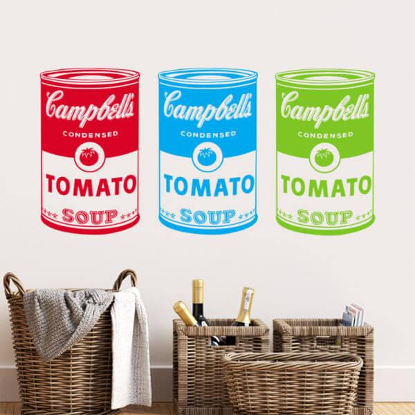 Vinilo Decorativo Pop Art Mini Campbells Multicolor