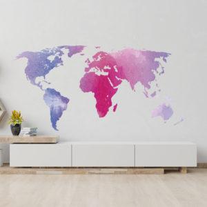 Vinilo Decorativo Mapamundi Minimalista con Continentes