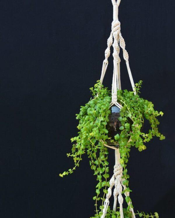 Matera Colgante en Macramé Doble color Natural con Macetas de Vidrio
