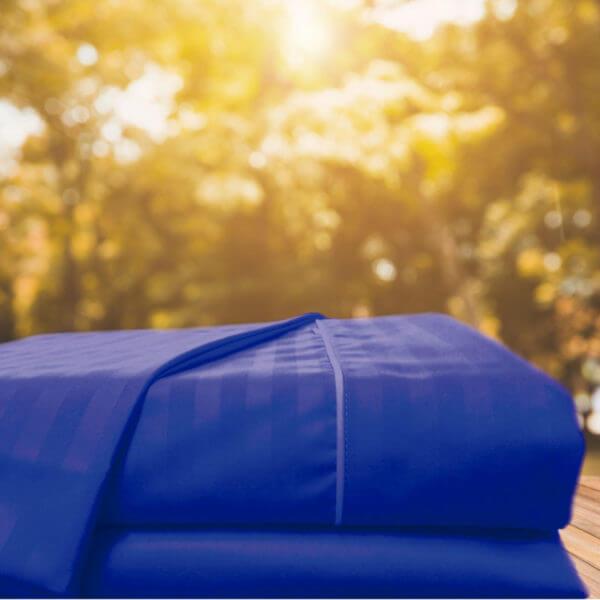 Juego Sabanas Sateen Stripe Azul