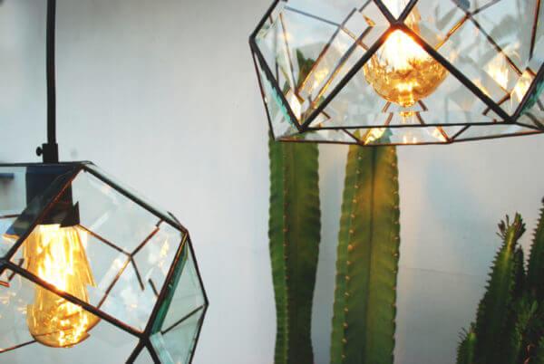 Lámpara de Techo Hexagonal Biselada