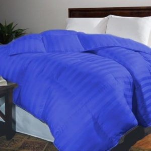 Plumón Sencillo Sateen Stripe Color Azul Rey + Fundas