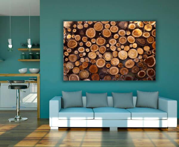 cuadro decorativo leños y troncos
