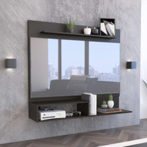 Mesa de noche o Nochero Nórdico Lottio alto gris con cajón blanco