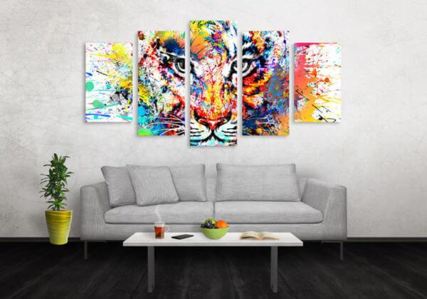 Cuadro Decorativo Tigre Colores 01