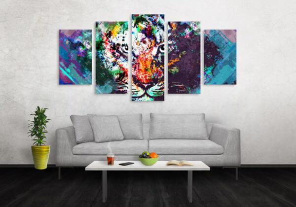 Cuadro Decorativo Tigre Colores 02