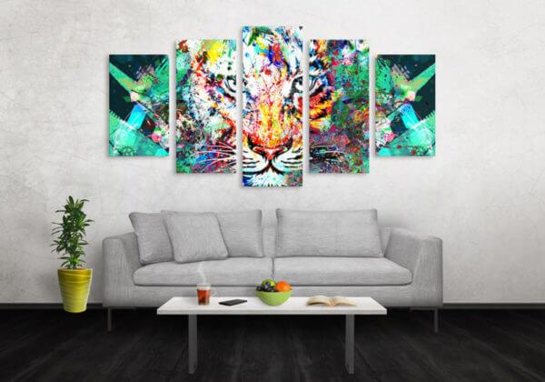 Cuadro Decorativo Tigre Colores 03