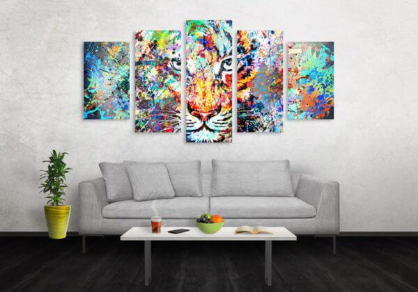 Cuadro Decorativo Tigre Colores 04