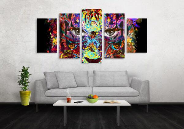 Cuadro Decorativo Tigre Colores 05