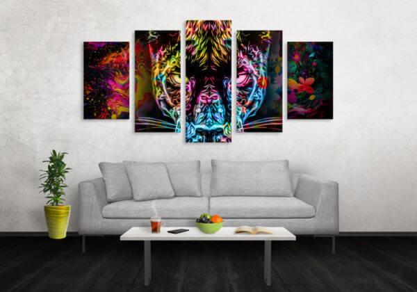 Cuadro Decorativo Tigre Colores 09