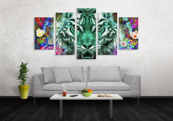 Cuadro Decorativo Tigre Colores 12