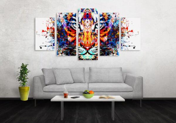 Cuadro Decorativo Tigre Colores 14