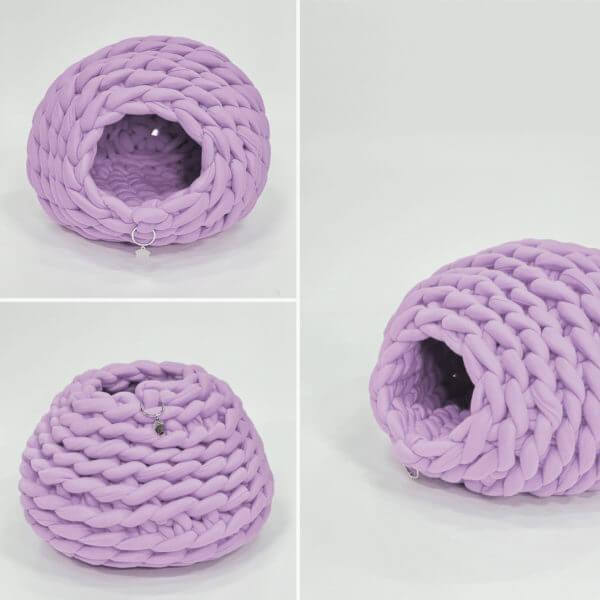 Cama para gato tipo cueva color lila