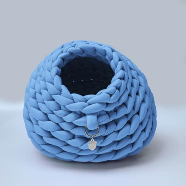 Cama para gato tipo cueva color azul cielo Ebani Colombia tienda online de decoración y mobiliario Binni