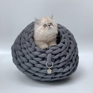Cama para gato tipo cueva color jaspe oscuro Ebani Colombia tienda online de decoración y mobiliario Binni