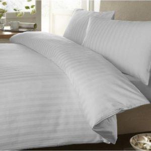 Duvet Sateen Stripe Blanco ebani ropa de cama