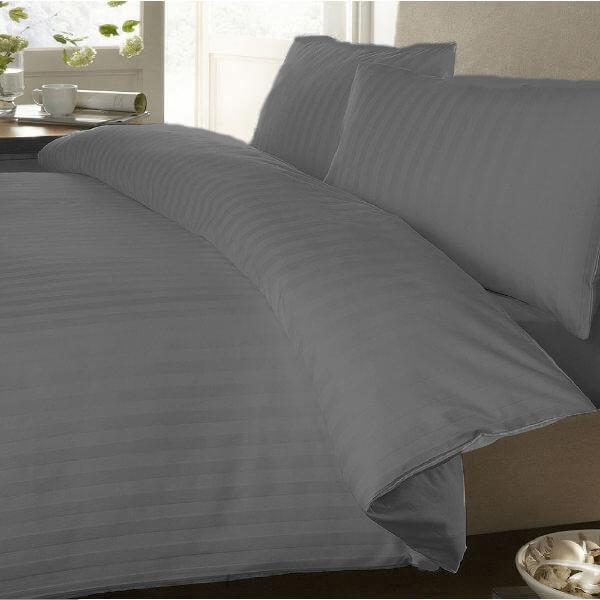 Duvet Sateen Stripe gris ebani ropa de cama