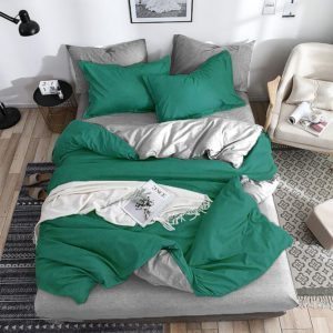 Duvet Sateen doble faz verde gris ebani ropa de cama