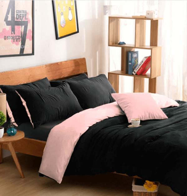 Duvet doble faz negro y rosado
