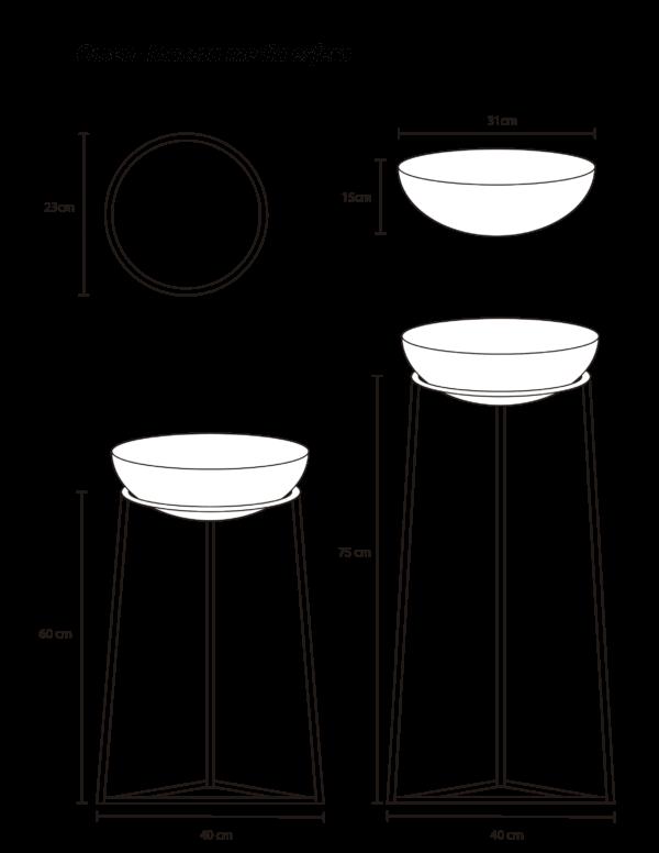 Matera Omen blanca con maceta color negro en esfera