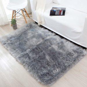 tapete gris peludo ebani