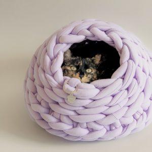 Cama para gato tipo cueva color militar