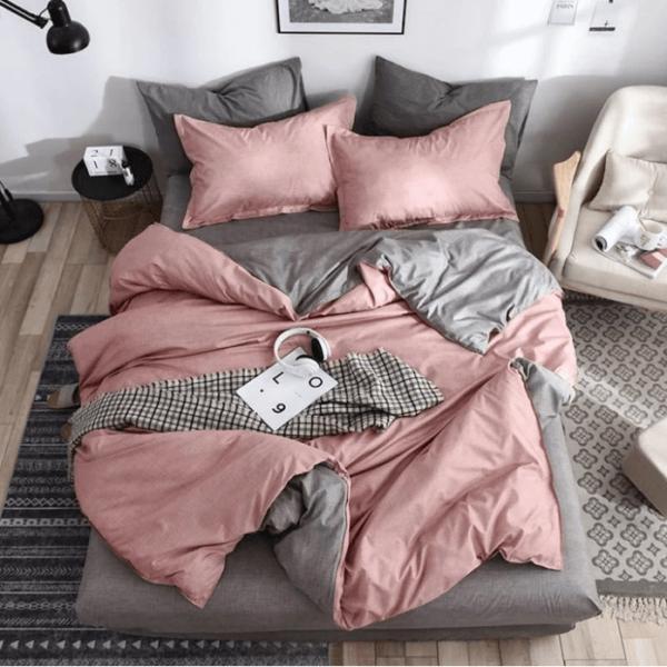 Duvet + Fundas doble faz palo de rosa y gris (sin cojines, sin plumón)