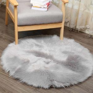 tapete negro redondo gris peludo ebani