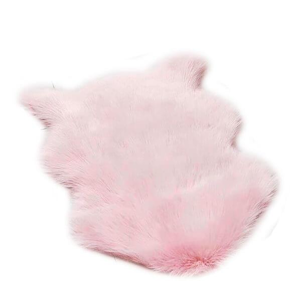 tapete oso peludo rosado ebani