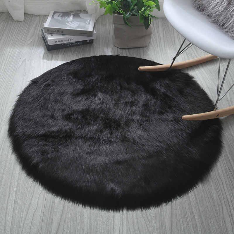tapete negro redondo negro peludo ebani