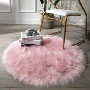 tapete redondo rosado peludo ebani