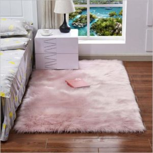 tapete rosado peludo ebani
