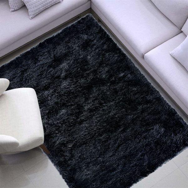 tapete negro rectangular negro peludo ebani