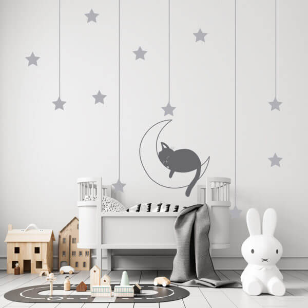 Vinilo Decorativo Infantil con Luna Gato y Estrellas