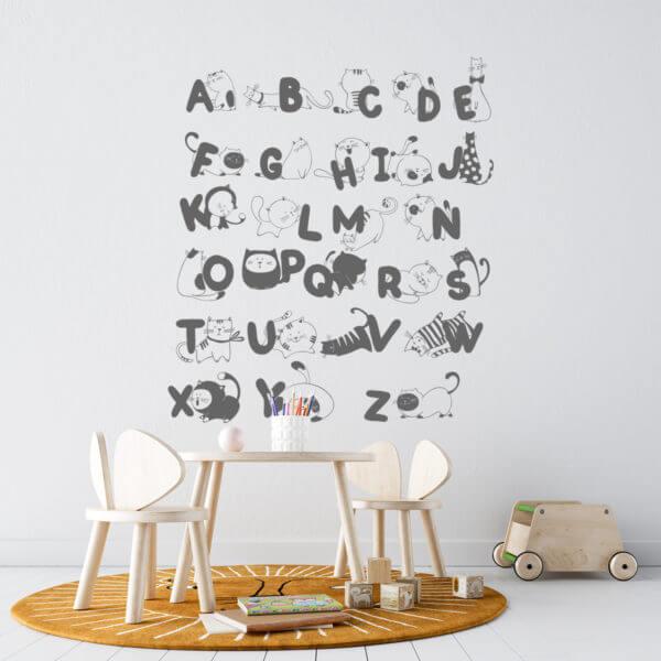 Vinilo Decorativo Infantil Alfabeto con Gatos