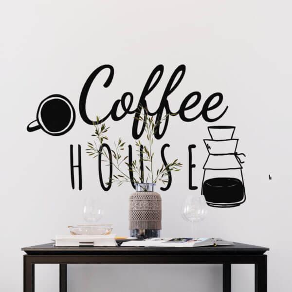 Vinilo Decorativo de Texto para Cocinas Coffee house