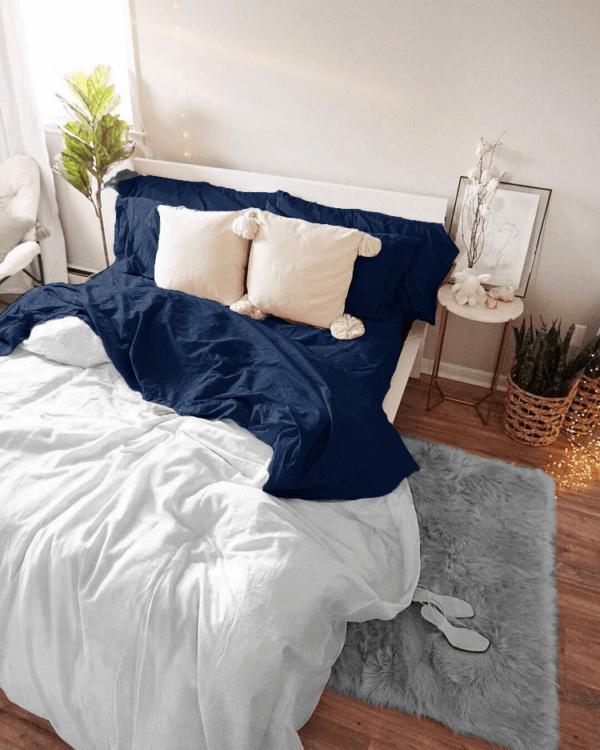 Duvet doble faz blanco y azul oscuro