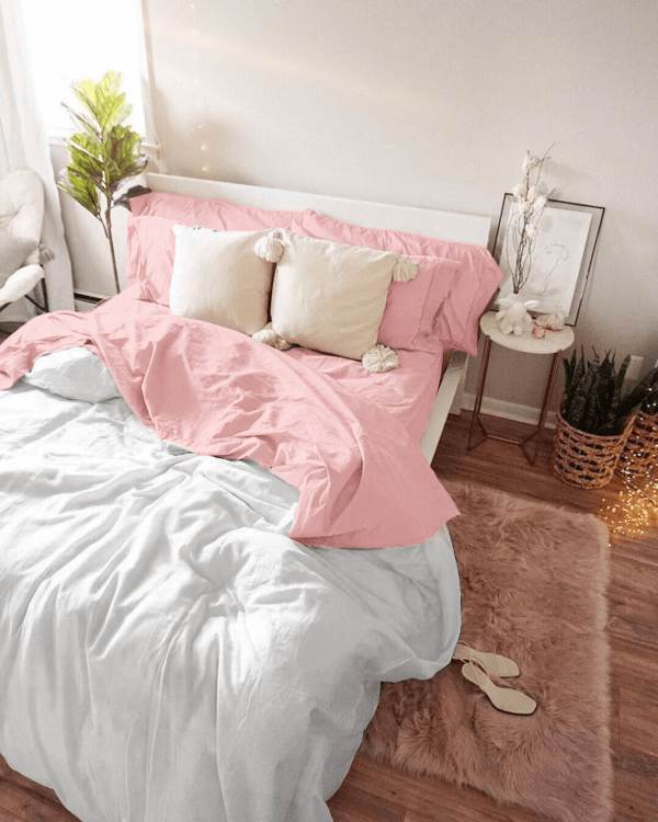 Duvet doble faz blanco y rosado