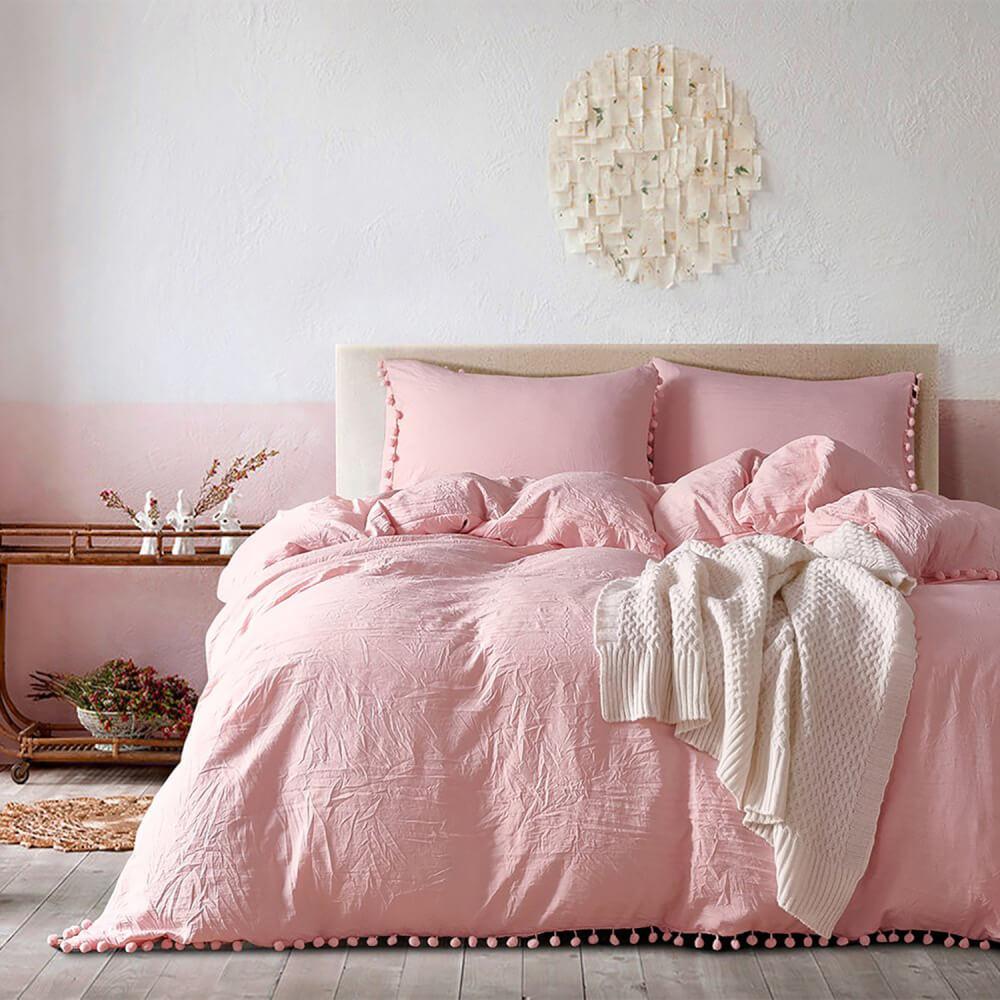 Duvet + Fundas de borlas rosado (sin cojines, sin plumón)