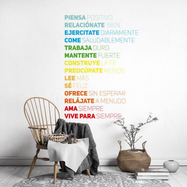 Vinilo Decorativo de pensamientos positivos en español